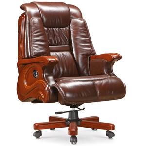 典雅总裁椅 老板椅 咖啡色牛皮 A-038 顺德办公家具网